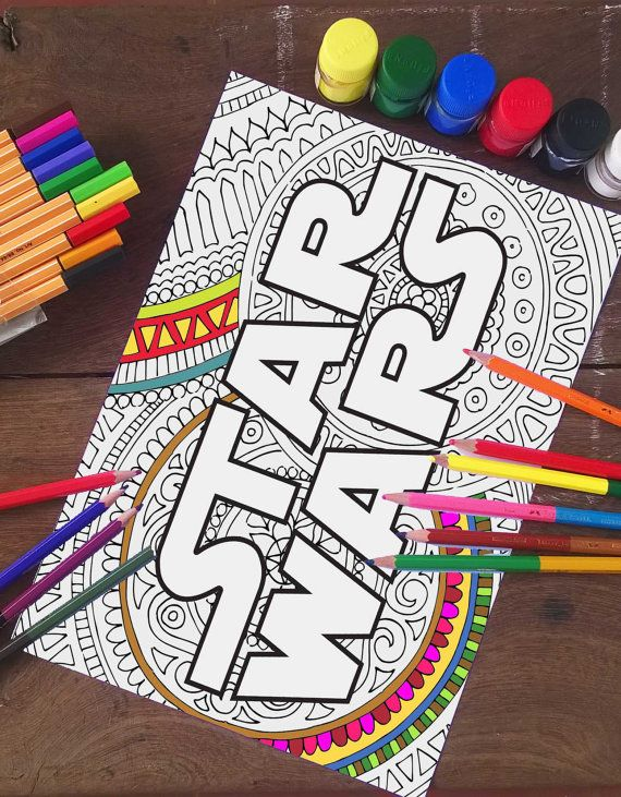 STAR WARS LOGO : Star Wars Zentangle doodle coloring by INK88