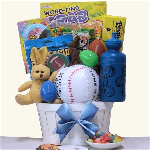 """That special boy is going to be """"Egg-tremely"""" happy to receive this 'Egg-streme' Sports themed Easter gift basket specifically designed for boys ages 6-9."""