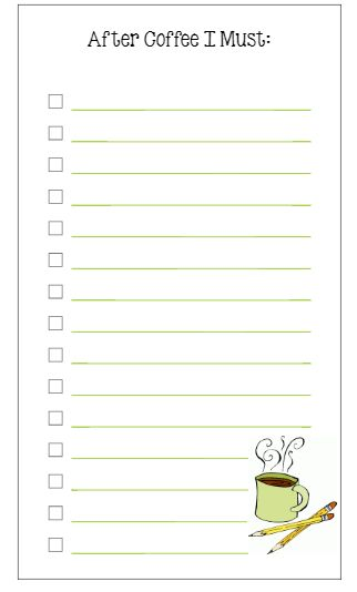 Planner Fun: Personal Size To Do List: Coffee! [free printable]