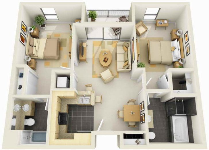 Decoration 3d Colored House Floor Plans3d Floor Plan Maker With Awesome Room And Good Furniture