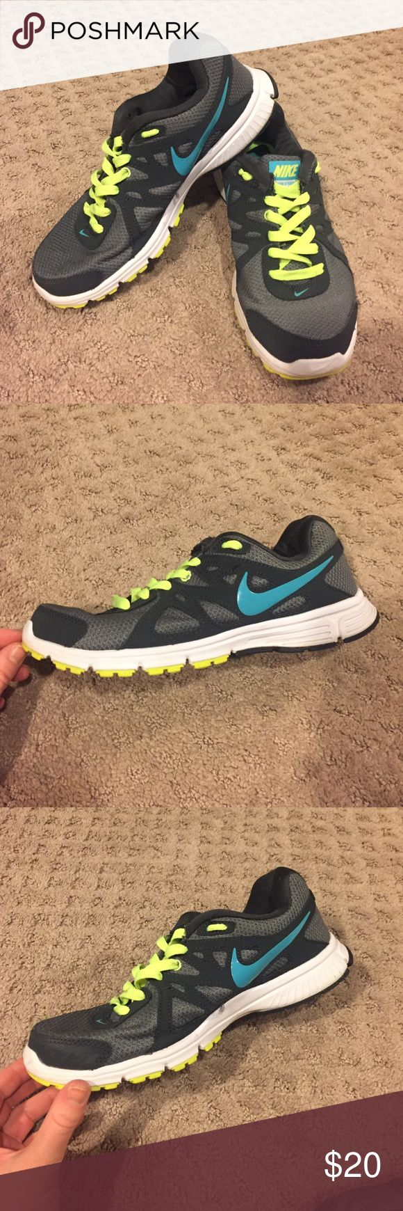 Nike Revolution 2 athletic sneakers Gray, teal, and neon yellow Nike athletic sneakers size 7 excellent condition Nike Shoes Sneakers