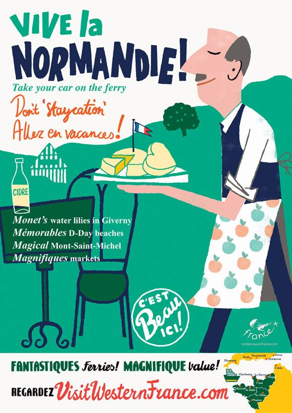Francia Retro -- normandieFrench Posters, Graphics Art, French Tourist, Boards Posters, France Tourism, Paul Thurlby, France Posters, Tourist Boards, Cartoons Modern