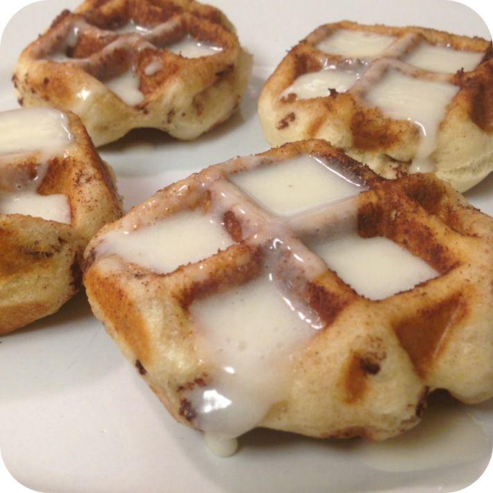 Pilsbury Cinnamon Rolls + waffle iron = AMAZING cinnamon roll waffles