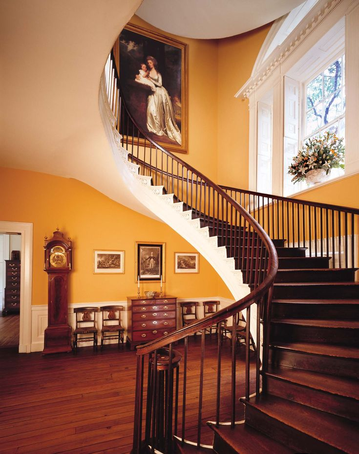 """A view of what the """"flying staircase"""" might have looked like in the Philadelphia house where Grey stayed."""