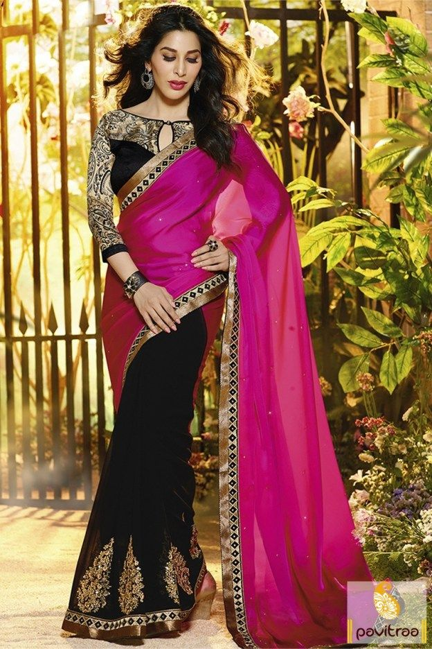 #Indian Fashion, #Latest, #Designer, #Gracefull, #Fashionable, #Heroine, # Dark Pink and Black, #Silk, #Fancy, #Embroidery Work, #Bolly Wood.