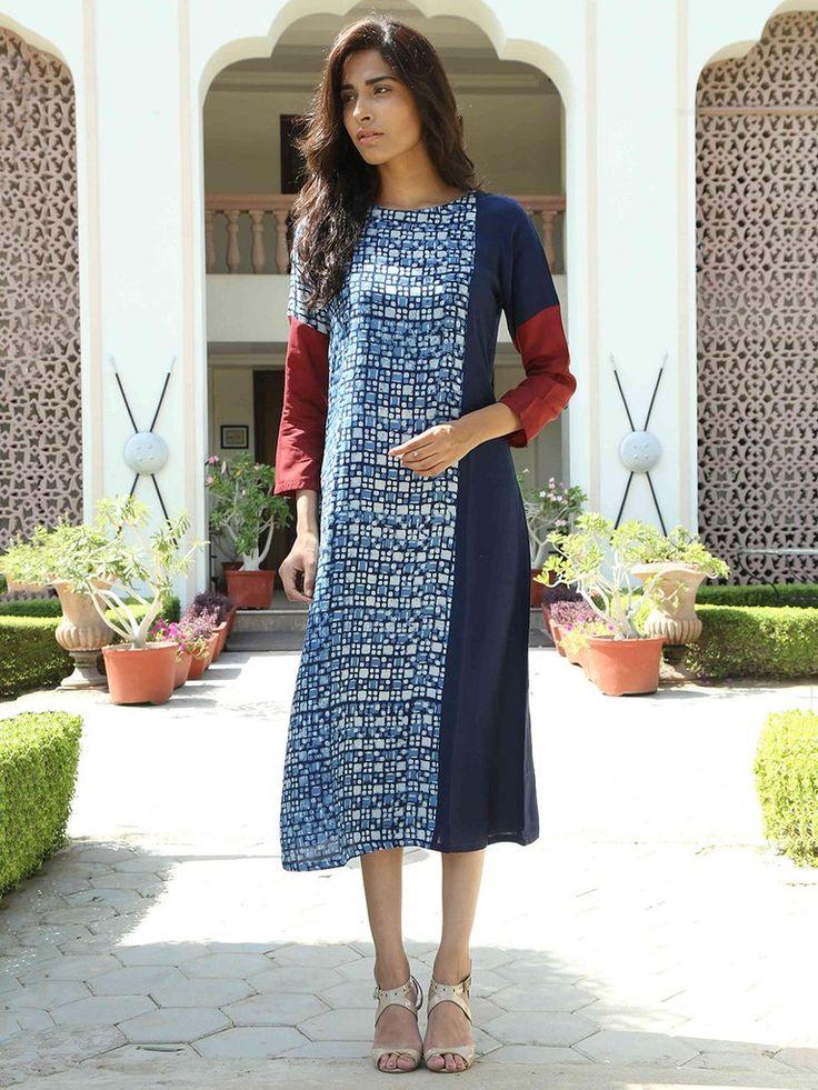 Indigo Hand Block Printed Monga Silk Dress