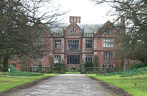 Dorfold Hall --exterior used for Lord Walderhurst's home in 'The Making of a Lady' and earlier in the adaptation of Sherlock Holmes' story 'The Dying Detective' starring Jeremy Brett.