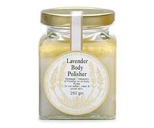 Lavender Body Polish By Warratina Lavender Farm. For exfoliating the hands, feet & legs. Rub 1 teaspoon into the feet, legs & hands to remove old skin cells. The salt revitalizes the skin & after rinsing leaves a beautiful oily film making the skin surface soft & renewed. 250 mL