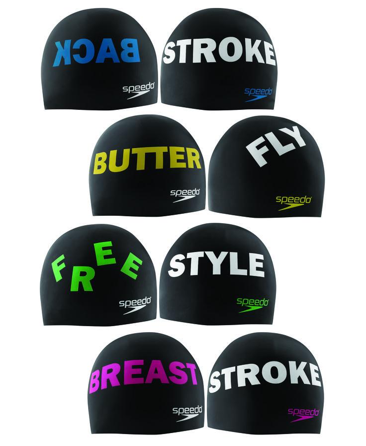 Swimming Stroke Swim Caps from Speedo, one for each stroke; Back Stroke, Breast Stroke, Free Style and Butterfly. (http://www.aquagear.com/speedo-strokes-swim-caps/)
