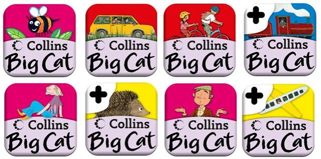 Collins big cat har 8 bøger, der er gratis. man kan selv lave om i bøgerne. Mellemtrin