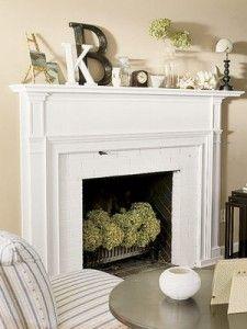 soft colour: Mantles Decor, Fireplaces Mantles, Fireplaces Mantels, Living Rooms, Decor Ideas, Faux Fireplace, Fireplaces Ideas, White Brick, Fire Places