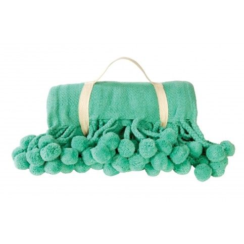 THE WELL APPOINTED HOUSE - Luxury Home Decor- Pom Pom Throw in Teal