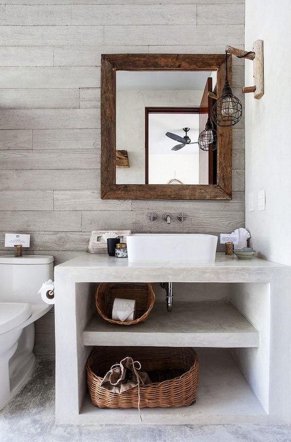 Pequeño baño moderno con mueble de obra. Muebles de obra para baños pequeños.