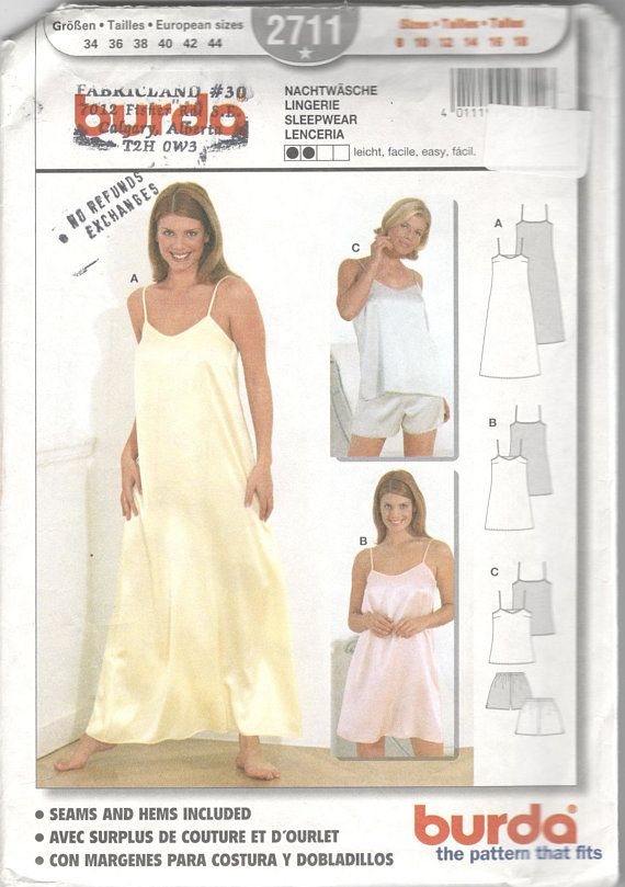 Burda 2711 Misses Nightgown Two Lengths Pajamas Camisole Shorts Pattern  Pyjamas Womens Sewing Pattern Size 8 10 12 14 16 18 UNCUT 4ca09651d