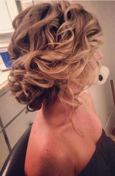 updo with soft curls | Loose soft curls pinned into a messy u[do from Ash & Co. Bridal Hair .