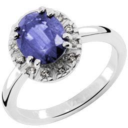 Prsten, belo zlato, safir, brilijanti
