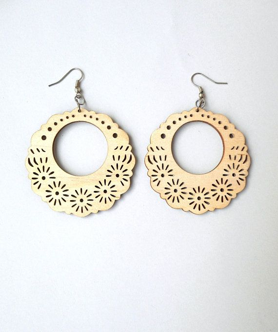 Wooden earrings, Woodland earrings, Laser cut earrings, Laser cut wood, Bohemian earrings, Gypsy jewelry, Charm earrings, Summer earrings