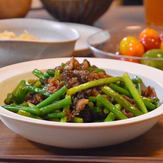 ご飯が欲しくなる!牛肉とにんにくの芽のオイスターソース炒め  |  あさこ食堂
