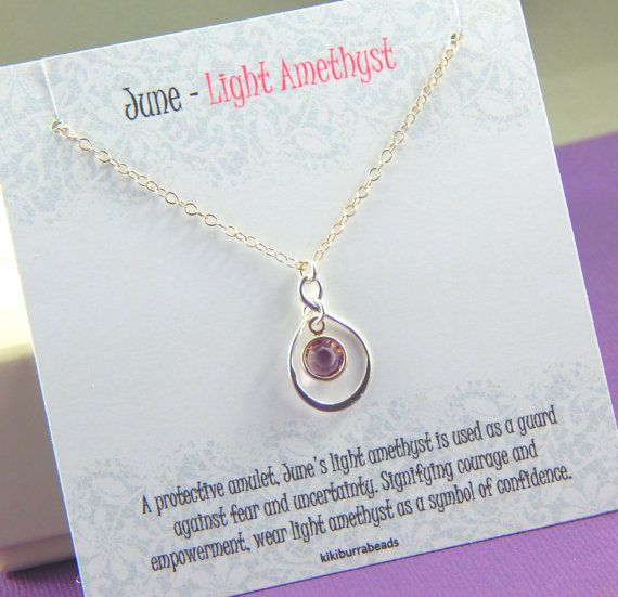June Birthstone Necklace Personalized infinity by Kikiburrabeads