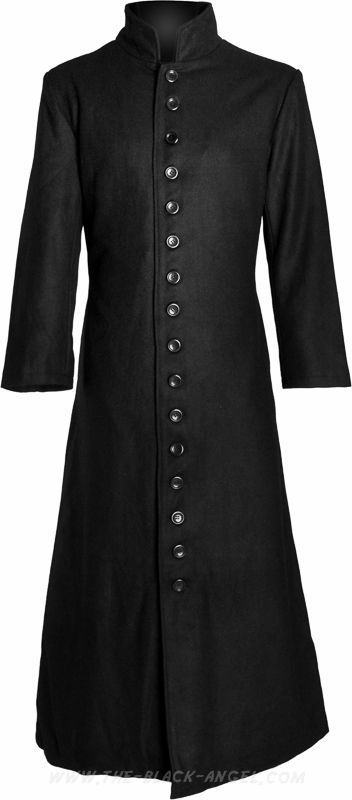 Black gothic wool coat with very long button row and officer collar, by Hard Leather Stuff.
