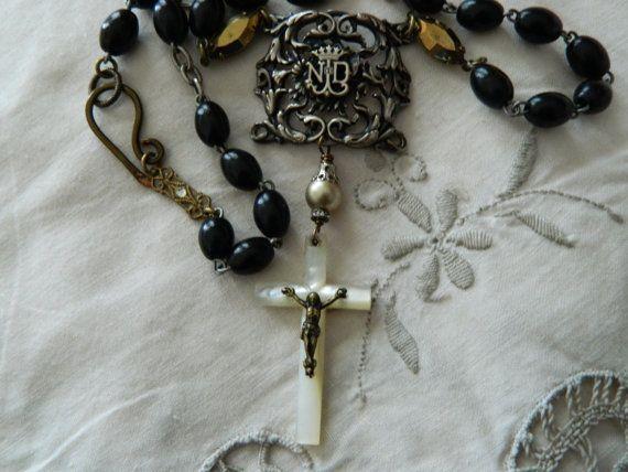 Assemblage Necklace Paris Notre Dame Rosary Crucifix by 58Diamond