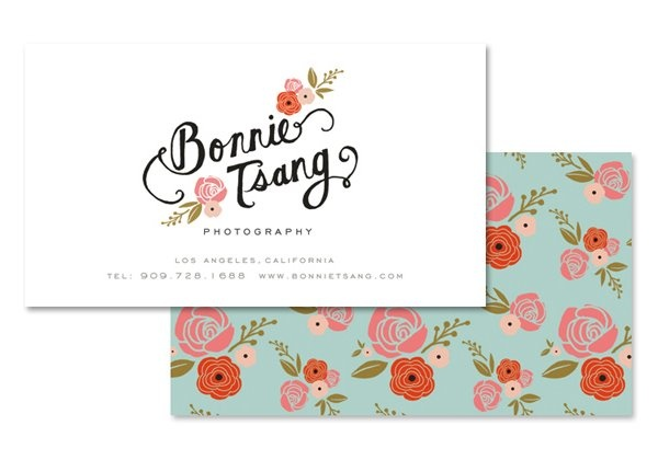 simplified logo, your name and contact on one side, floral on the other, good quality stock and possibly rounded or scalloped corners?