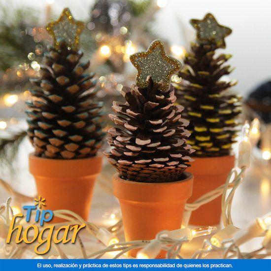 M s de 25 ideas incre bles sobre adornos navide os con - Adornos de navidad hechos con pinas ...