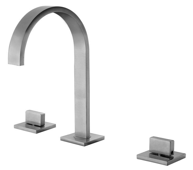 ALFI brand AB1336-BN Brushed Nickel Gooseneck Widespread Bathroom Faucet