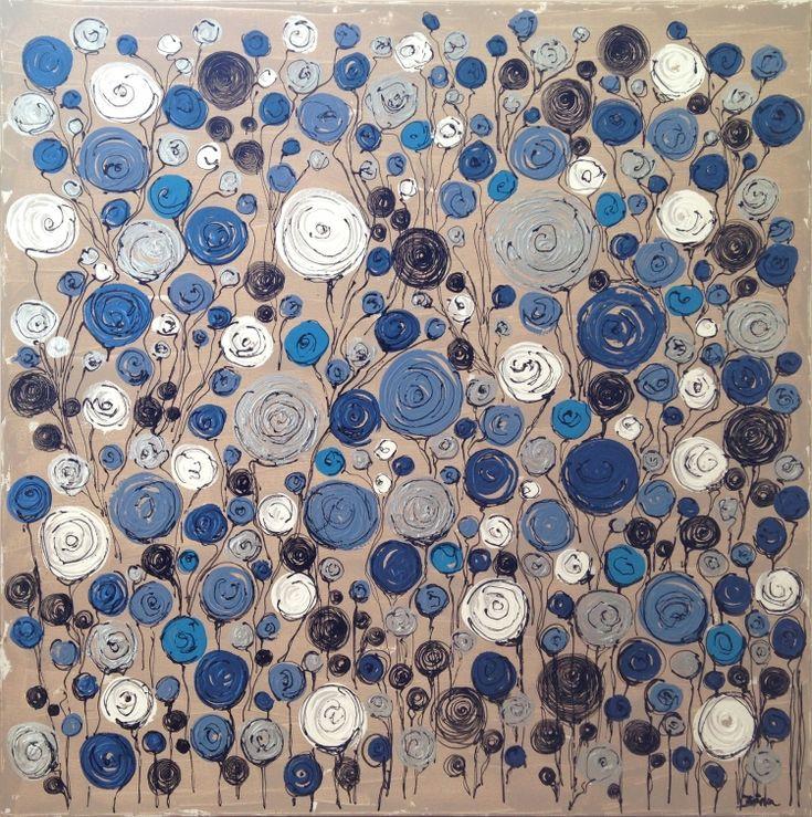 tableau peinture fleurs bleu abstrait design fleurs bleues grand format tableaux nia. Black Bedroom Furniture Sets. Home Design Ideas