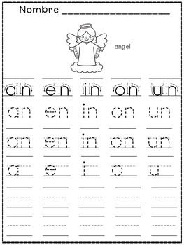Silabas Inversas - Tracing Word Final Syllables