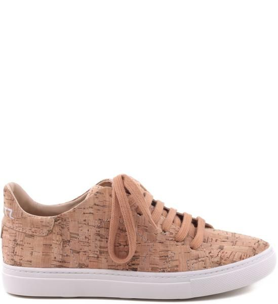 **FINAL SALE LACE-UP SNEAKERS IN CORK Rubber Outsole Upper: Cork