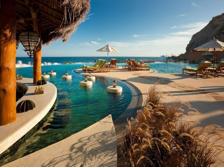 """63. Capella Pedregal, Cabo San Lucas. From the moment they make a dramatic entrance through a 1,000-foot torch-lit tunnel, guests say that this property designed to emulate a Mediterranean mountainside village is """"a real nirvana."""""""