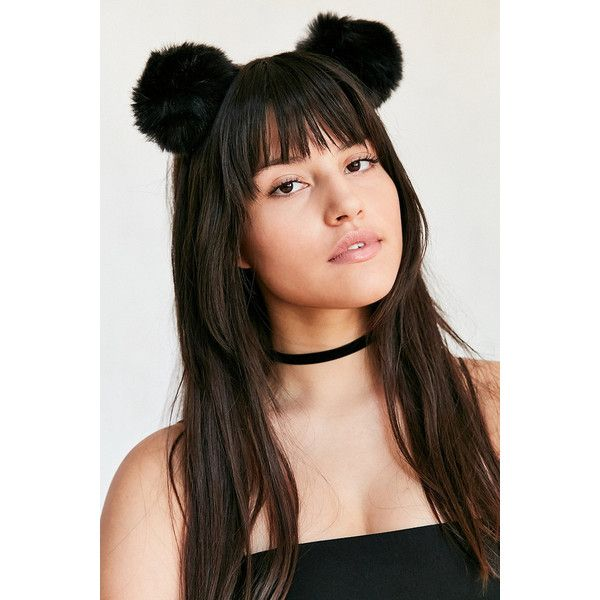Pom-Pom Ear Head Band (3.53 NZD) ❤ liked on Polyvore featuring accessories, hair accessories, black, hair, hairstyles, wrap headbands, hair band headband, head wrap headband, headband hair accessories and hair band accessories