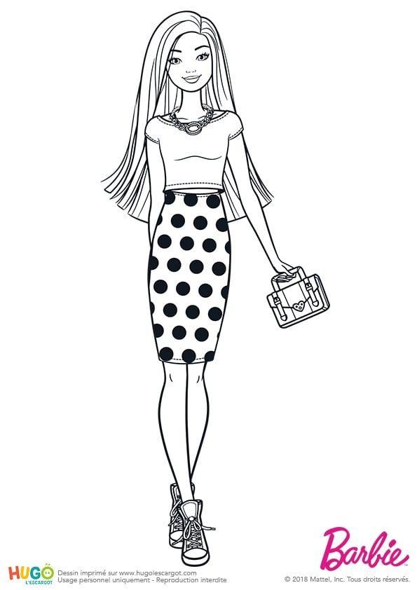 Coloriage Et Illustration Barbie Fashionistas Jupe A Pois Tenue Simple Et Classique Intemporelle Jupe Longue A Pois Coloriage Coloriage Barbie Dessin Barbie