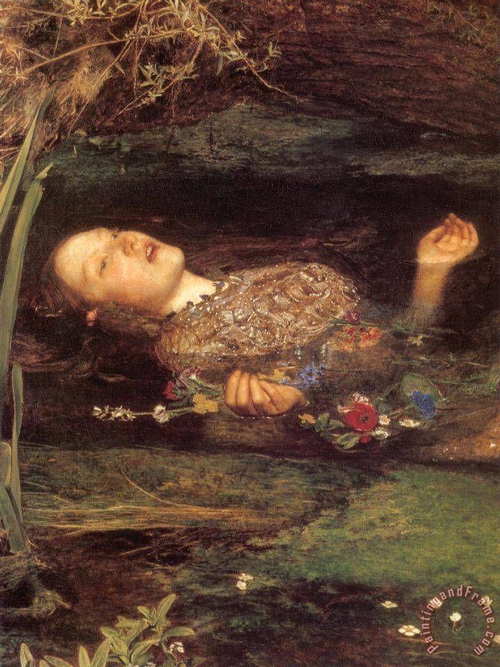 Ophelia [detail] painting  -  John Everett Millais Ophelia [detail] Art Print
