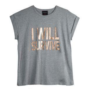 """Camiseta I Will Survive J.Chermann  - Camiseta I Will Survive da marca J.Chermann.     Camiseta em modelagem boyfriend na cor cinza.   Detalhe por estampa frontal, na altura do busto, com a frase """"I Will Survive"""" em dourado.   Possuí mangas dobradas.     Composição: 100% Algodão"""