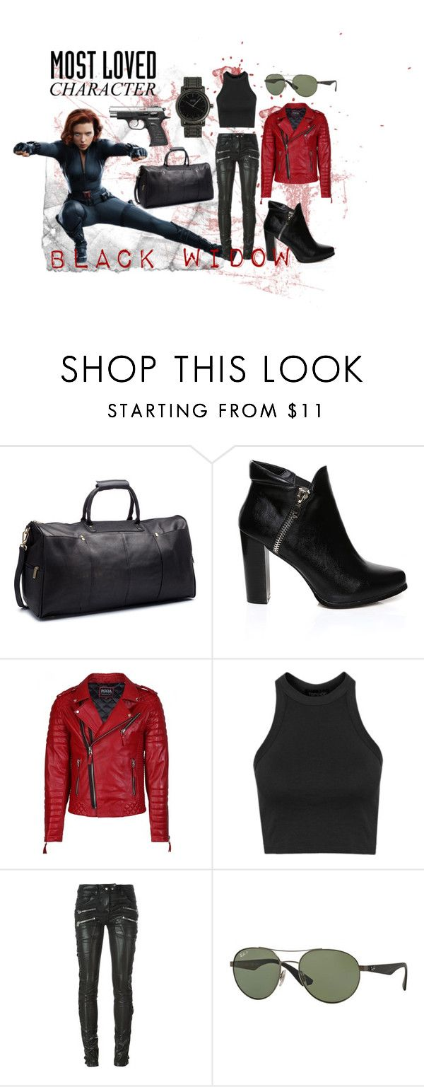 """""""Black Widow"""" by skylerayne on Polyvore featuring Le Donne, Topshop, Faith Connexion, Ray-Ban and MN Watches"""