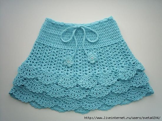 ~ Blue Crocheted Skirt ~ Pair w/ White Leggings....
