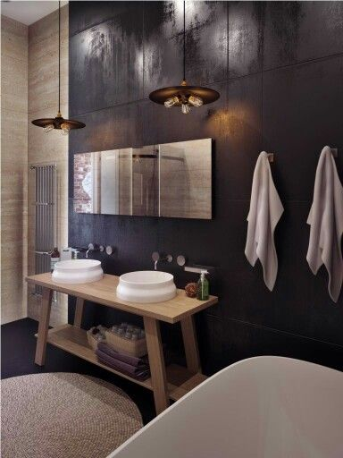 metallic wall tile (maybe too dark), open concept vanity, freestanding tub, and fabulous pendant lighting... what an amazing space!
