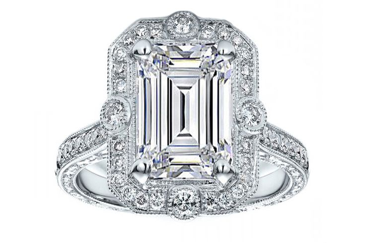 Emerald Cut Diamond Halo Vintage Engraved Engagement ring