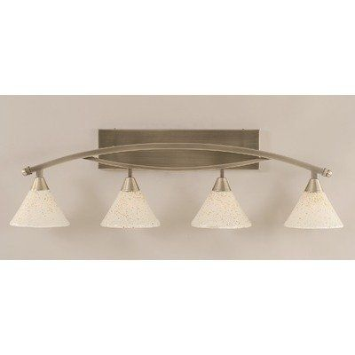 """Bow 4 Light Bath Vanity Light by Toltec Lighting. $352.00. 174-BN-7145 Features: -Bath vanity light.-Number of lights: 4.-Shade description: 7"""" Gold ice glass.-Hanging fixture: No.-Bulb type: Incandescent bulb. Color/Finish: -Finish: Brushed nickel. Dimensions: -Backplate dimensions: 5"""" H x 1"""" W x 20"""" D.-Overall dimensions: 11.5"""" H x 9.5"""" W x 39.5"""" D. Collection: -Bow collection. Warranty: -Manufacturer provides 1 year warranty."""