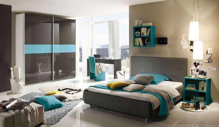 Schlafzimmer Brehme, Bett, Schwebetürenschrank, Regal, Schreibtisch,  Nachtkonsole, Anthrazit / Türkis
