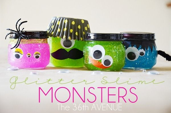 Halloween Glitter Slime Monsters by the36thavenue.com: Food Jars, Slime Monsters, Baby Food, Halloween Idea, Halloween Crafts, Monsters Crafts, Kids, Halloween Party, Glitter Slime