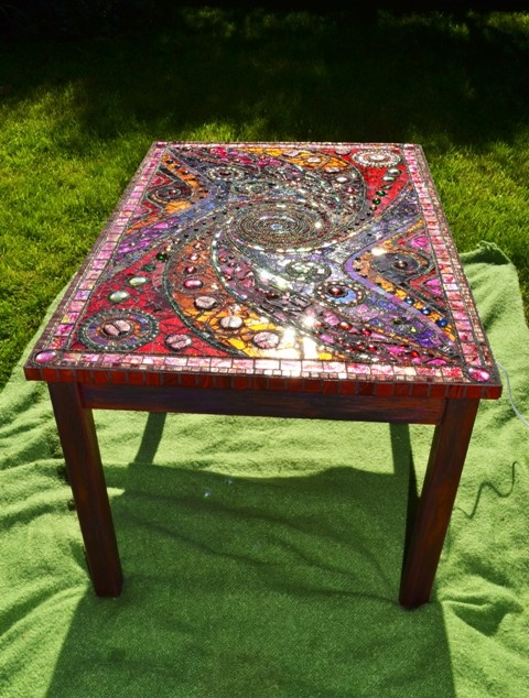 Items Similar To SOLD   Mosaic Table, U0027light Boxu0027, Spiral, Mosaic Art    SOLD On Etsy