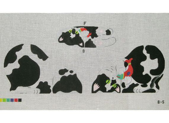 """Needlepoint Cat Canvas - Tuxedo Kitten front, back and bottom Dimensions of kitten: 8 1/2""""w x 6""""h - $66.00"""