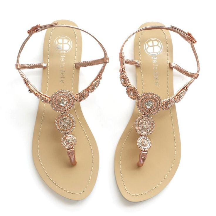 Perfectly pretty rose gold sandals for the beach bride! By Bella Belle Shoes.   http://emmalinebride.com/planning/rose-gold-wedding-ideas/