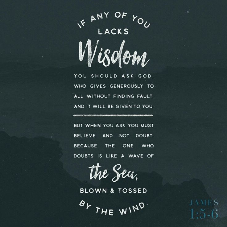 James New International Version (NIV) If any of you lacks wisdom, you should ask God, who gives generously to all without finding fault, and it will be ...