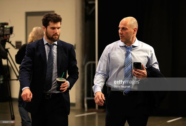 Ben Lovejoy #12, left, and assistant coach Rick Tocchet of the Pittsburgh Penguins arrive at the arena prior to Game One of the 2016 NHL Stanley Cup Final at Consol Energy Center on May 30, 2016 in Pittsburgh, Pennsylvania.