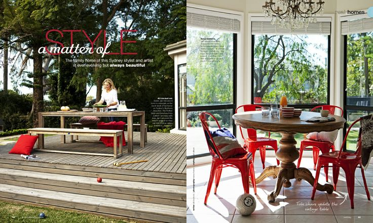"""A Matter of Style""   www.leblon.com.au  Raffles Rectangular Table (200cm or 240cm) with Raffles 180cm Backless Benches  Real Living Magazine Article on Julz Beresford, Food Stylist"