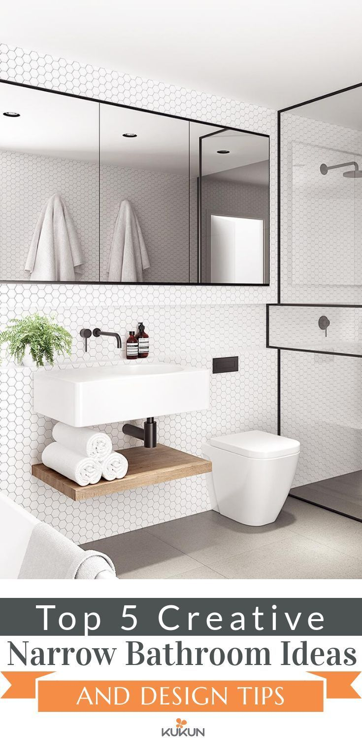 Top 5 Creative Narrow Bathroom Ideas And Design Tips Remodel Ideas For Small Bathrooms Small Space Bathroom Narrow Bathroom Designs Small Bathroom Remodel